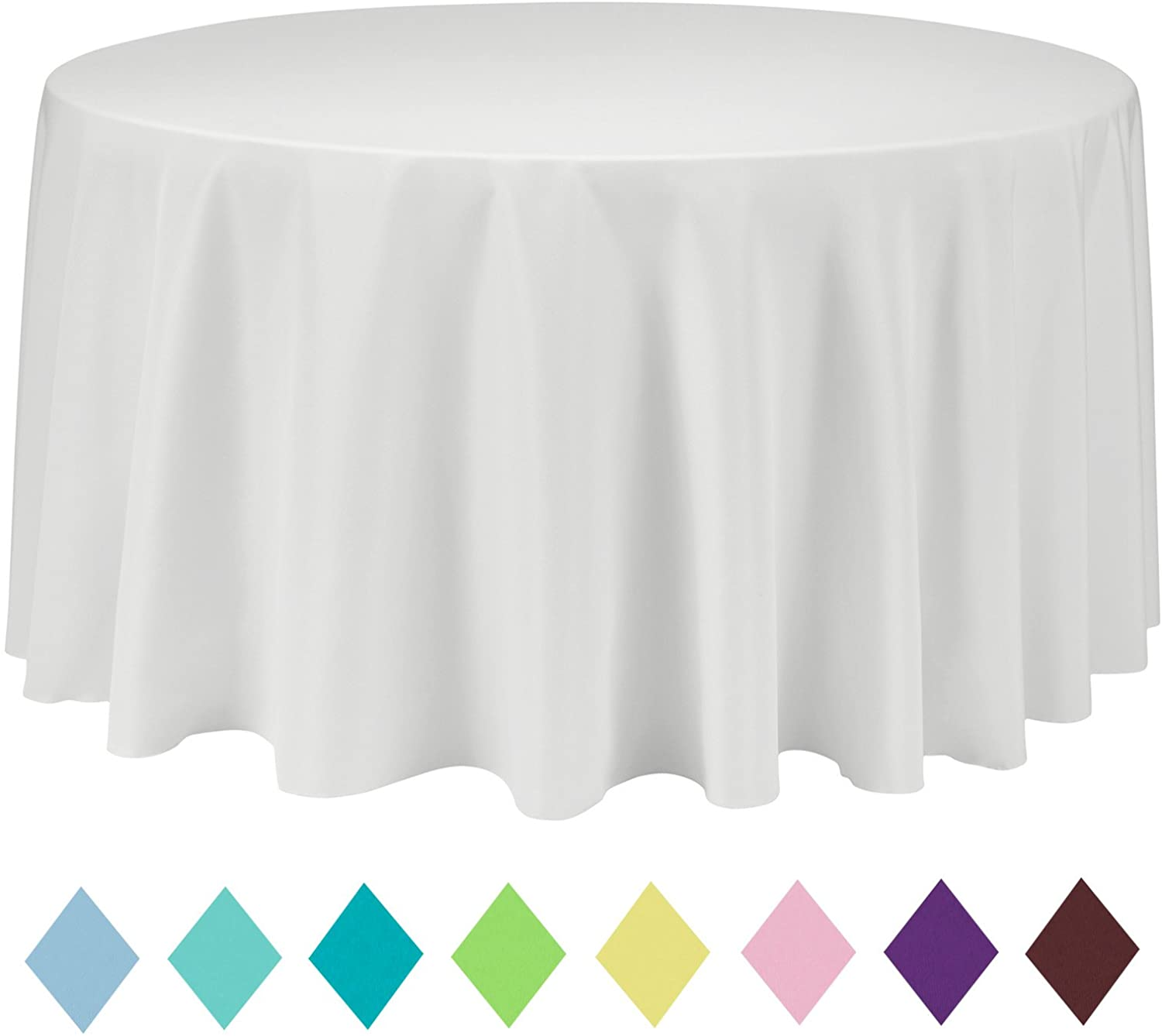 VEEYOO Round Table Cloth Solid Color Polyester Tablecloth for Bridal Shower Table – Circular Dinner Table Cover for Wedding Party Restaurant (Ivory, 120 inch)