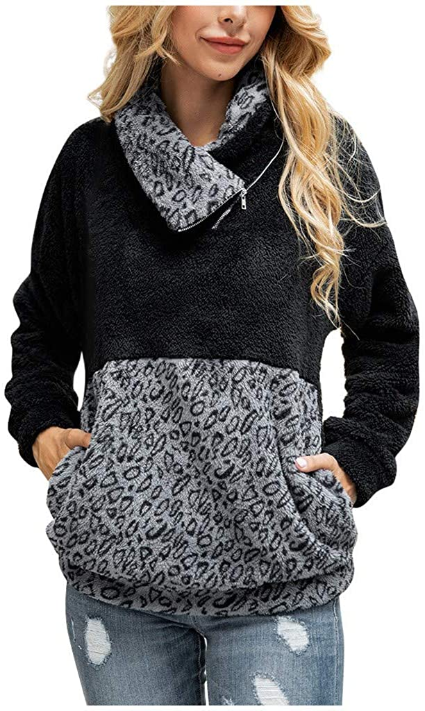 Sweatshirts for Girls, Misaky Leopard Colorblock High Collar Plush Long Sleeve Zipper Pullover Tops with Pockets