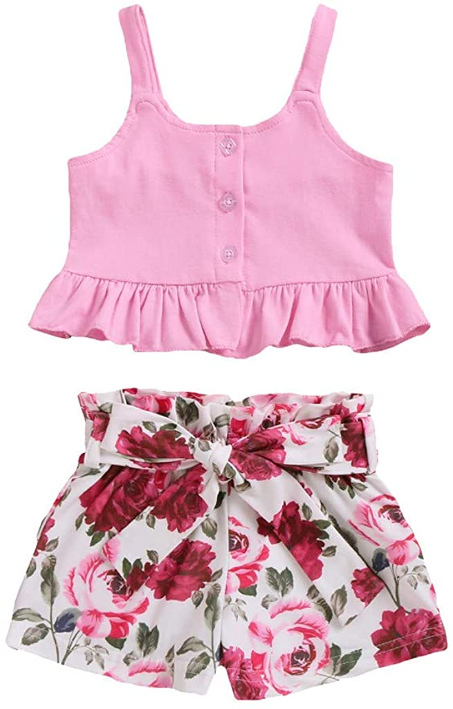 2Pcs Outfits Infant Toddler Newborn Baby Girl Suspenders Ruched Vest Tops+Bow-Knot Floral Shorts 3-18 Months