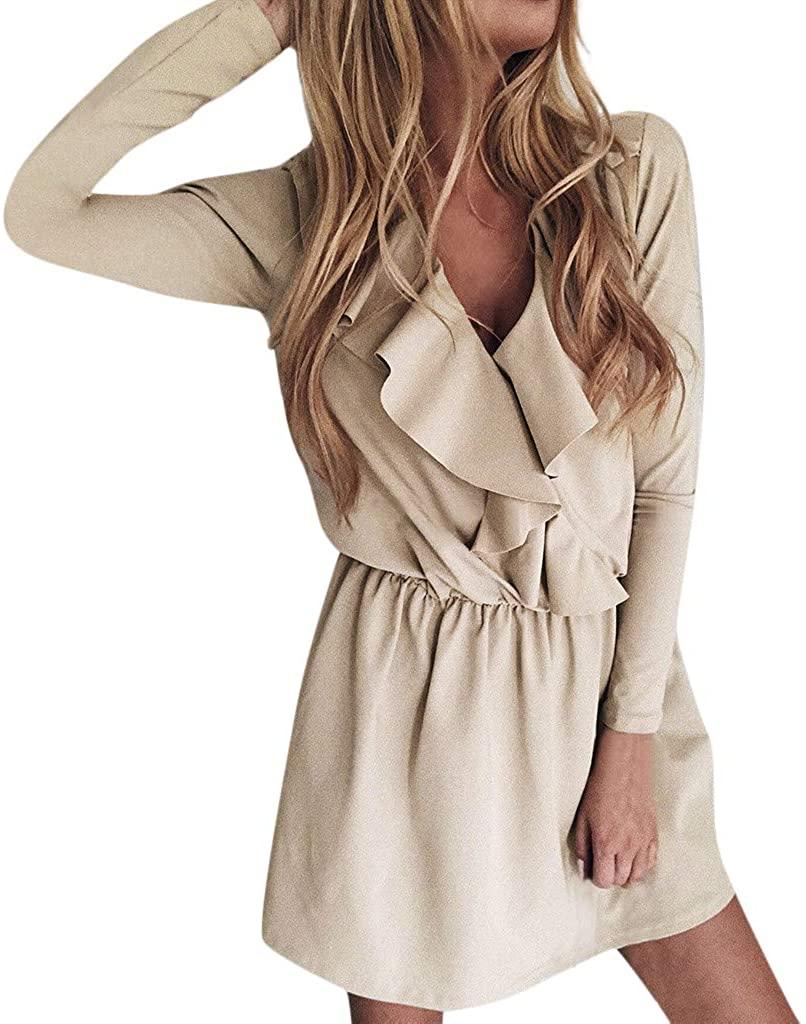 POQOQ Women V-Neck Vintage Office Solid Bodycon Dress Long Sleeve Mini Dress(Khaki,XL)