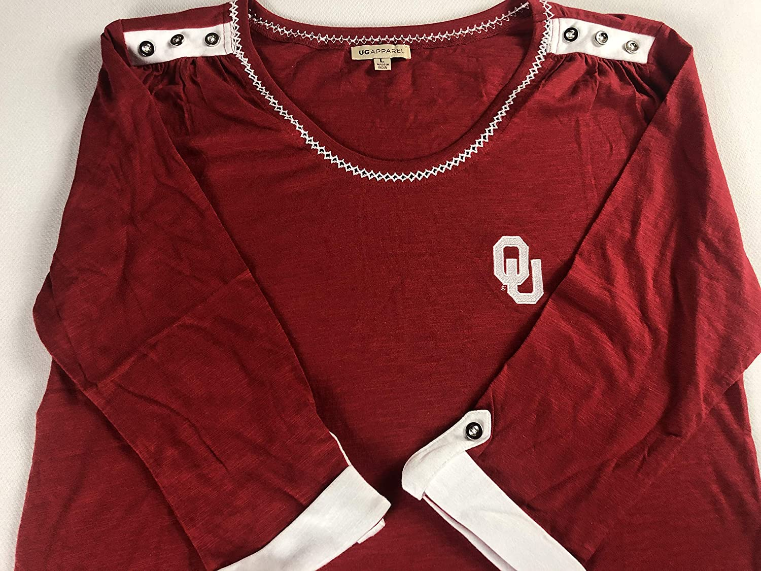 Sooners Oklahoma OU 3/4 Sleeve Shirt Womens Large Buttons Top Alumni Student