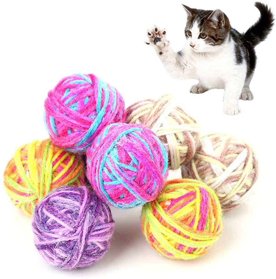 AzsfUfsa53 Durable Pets Supplies Playing Toys Pet Cat Kitten Bell Fun Games Woolen Yarn Ball Exercise Scratch Play Chewing Toy - Random Color