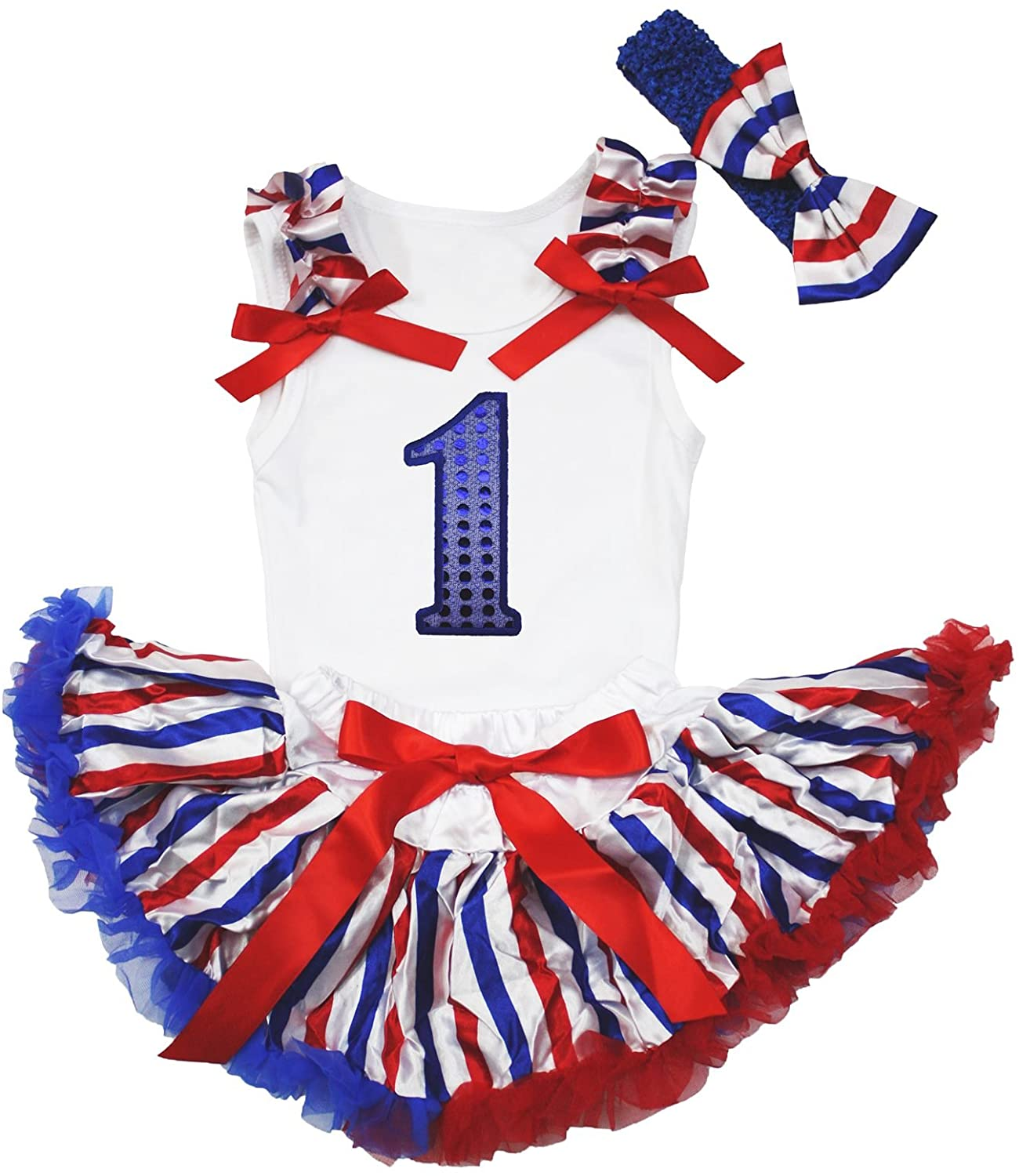 Petitebella Blue Sequins 1st White Shirt RWB Striped Baby Skirt Outfit 3-12m