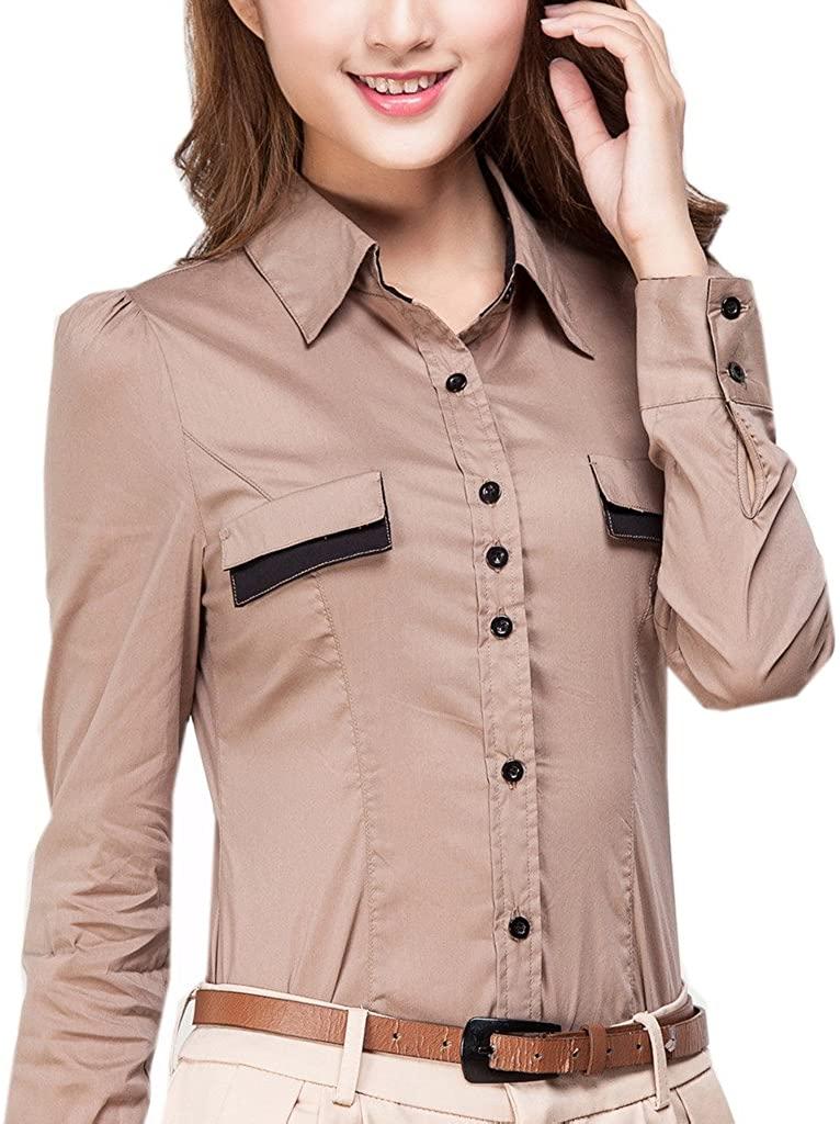 ZAMME Women's Long Sleeve Pocekt Slim Shirt Bodysuit Top Blouse