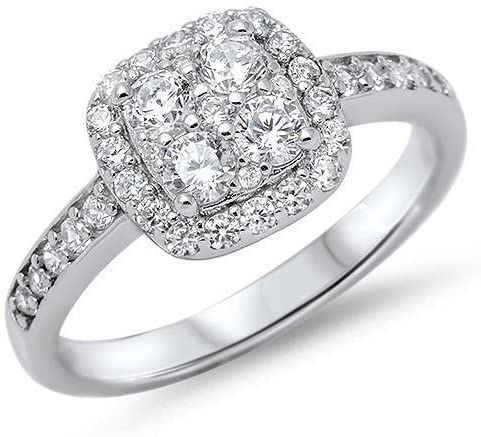 Oxford Diamond Co White Cubic Zirconia Engagement .925 Sterling Silver Ring Sizes 4-13