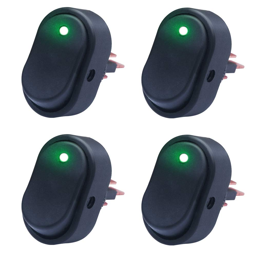 mxuteuk 4pcs 12V Green LED Light Rocker Switch Toggle Triangle Plug Switch On-Off 30A for Car Truck RV Motorcycle Boat Marine Control ASW-20D-G