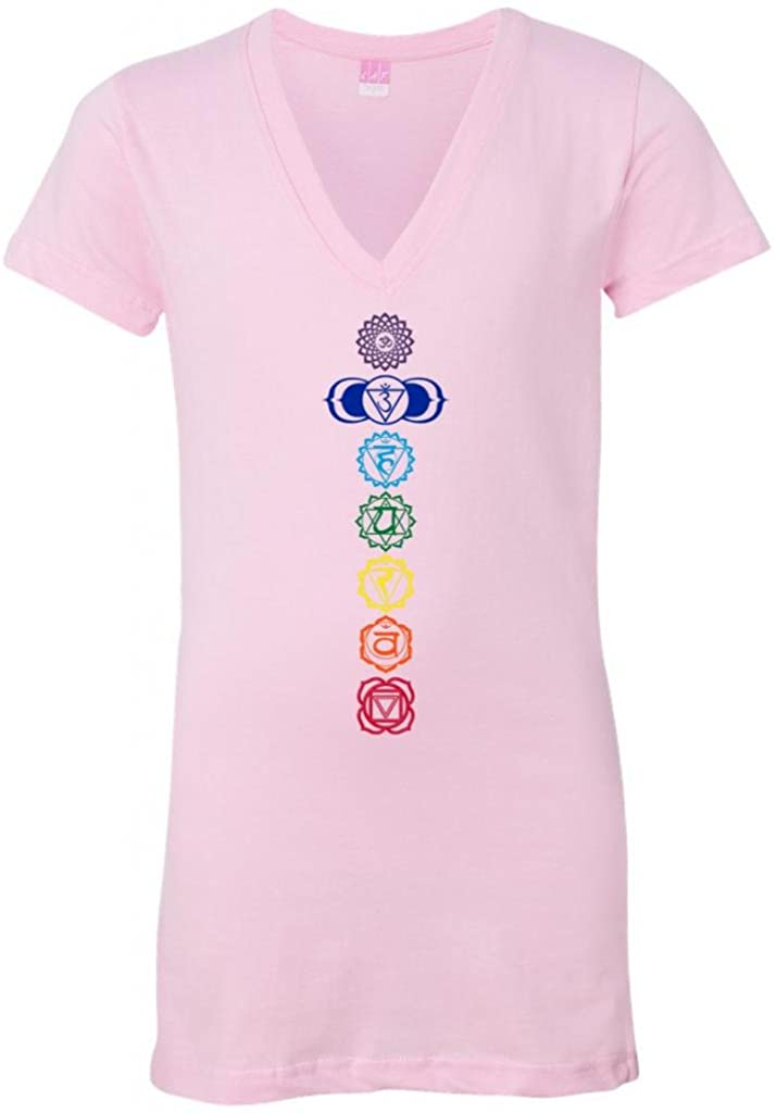 Yoga Clothing For You Ladies Colored Chakras Longer Length Pink V-Neck T-Shirt