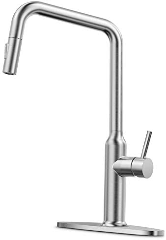 CORYSEL Kitchen Faucet with Pull Down Sprayer and 2 Water Outlet Modes, Single-Handle High Arc Brushed Nickel Single Hole Pull Out Kitchen Sink Faucet with Deck Plate (2083)