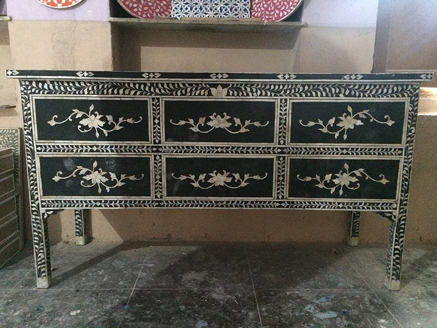 Luxury Handicrafts Mother of Pearl Inlay Chest of 6 Drawers
