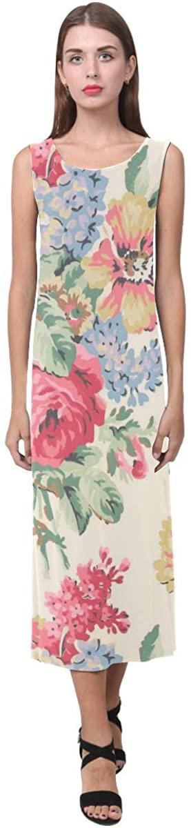 QUICKMUGS2U Fashion Women Sleeveless Floral Long Maxi Dress Beach Sleeveless Sundress
