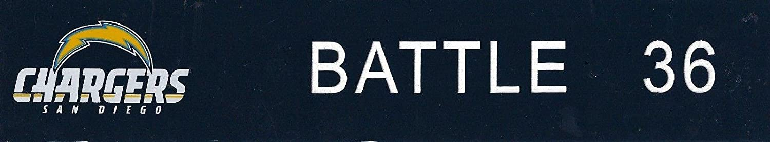 Jackie Battle Game Used 2012 Chargers Football Locker Name Plate #36 RB Houston - NFL Game Used Footballs