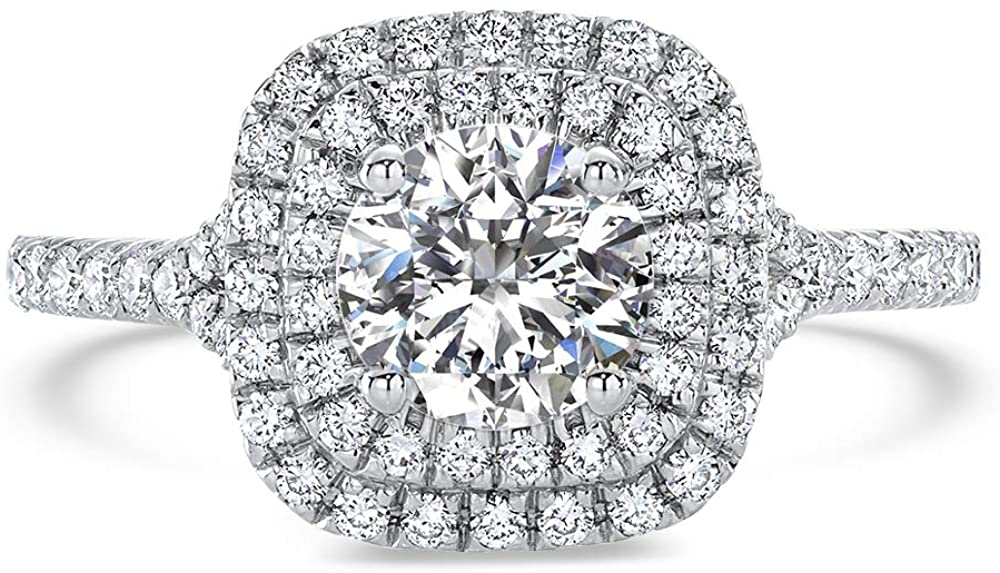 Pophylis Cushion Double Halo Round-Cut Cubic Zirconia CZ 925 Sterling Silver Engagement Ring for Womens Wedding 2.0 CTW