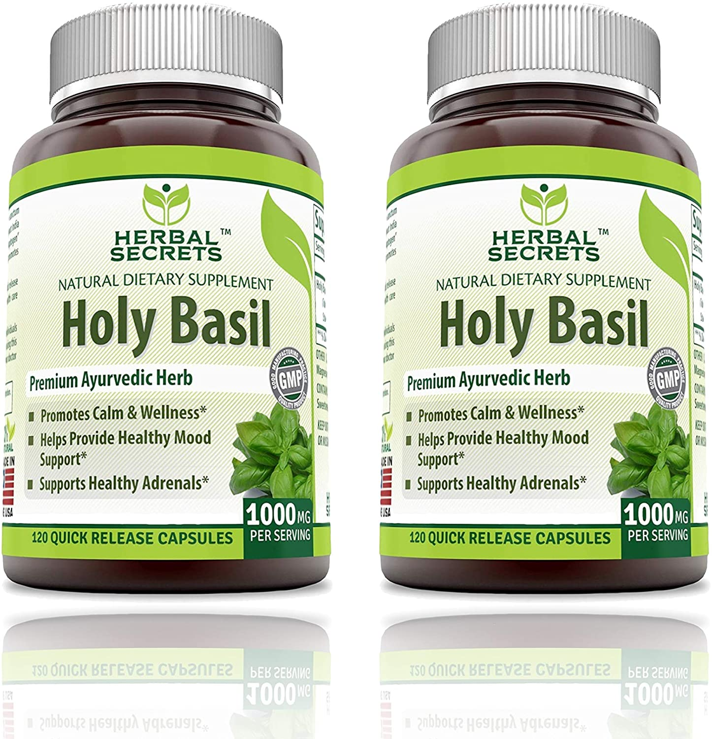 Herbal Secrets Holy Basil 1000 Mg Per Serving 120 Capsules (Non-GMO)- Promotes Calm & Wellness, Helps Provide Healthy Mood Support, Support Healthy Adrenals* (Pack of 2 - 240 Capsules Total)