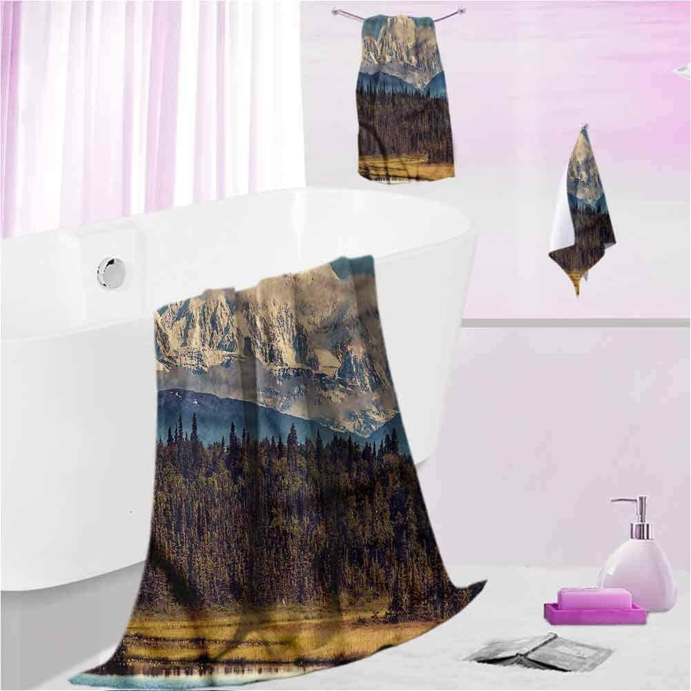 DayDayFun Beach Towel Alaska Highly Absorbent Machine Washable Colorful North Summer M - Contain 1 Bath Towel 1 Hand Towel 1 Washcloth