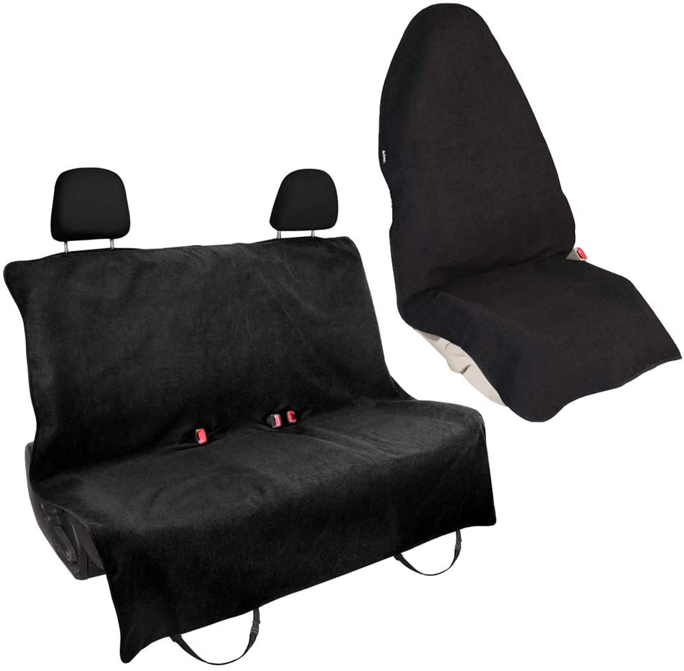 Leader Accessories Waterproof Black 1pcs Towel Front Seat Cover + 1pcs Rear Bench Seat Cover for Athletes-Workouts, Swimming, Running, Boxing