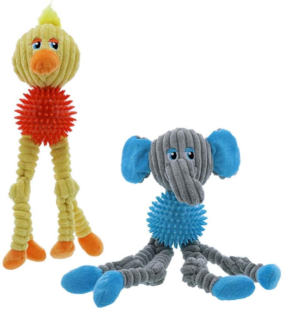 MPP Plush Dog Toys Corduroy Squeaker Dental Spike Ball Choose Elephant or Duck 13