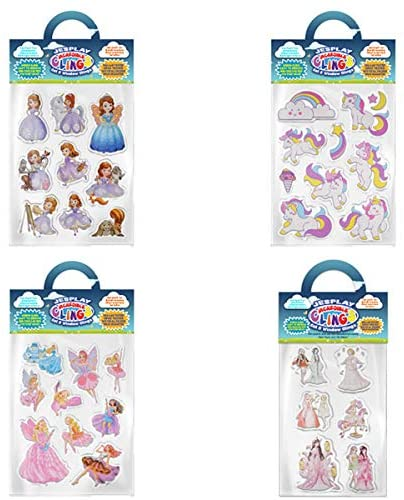 Unicorns, Fairies and Princesses Value Bundle Removable Gel and Window Clings for Kids, Toddlers - Magic, Castles, Wands, Unicorns and More! - Incredible Gel Decals for Glass, Walls, Rooms, & Home
