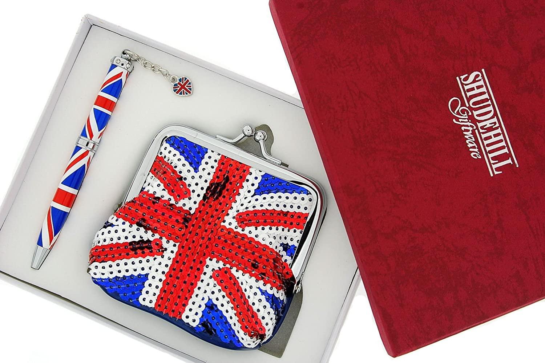 SHJ Ladies England Union Jack Pen & Glitzy Sequined Purse Gift Set SC406