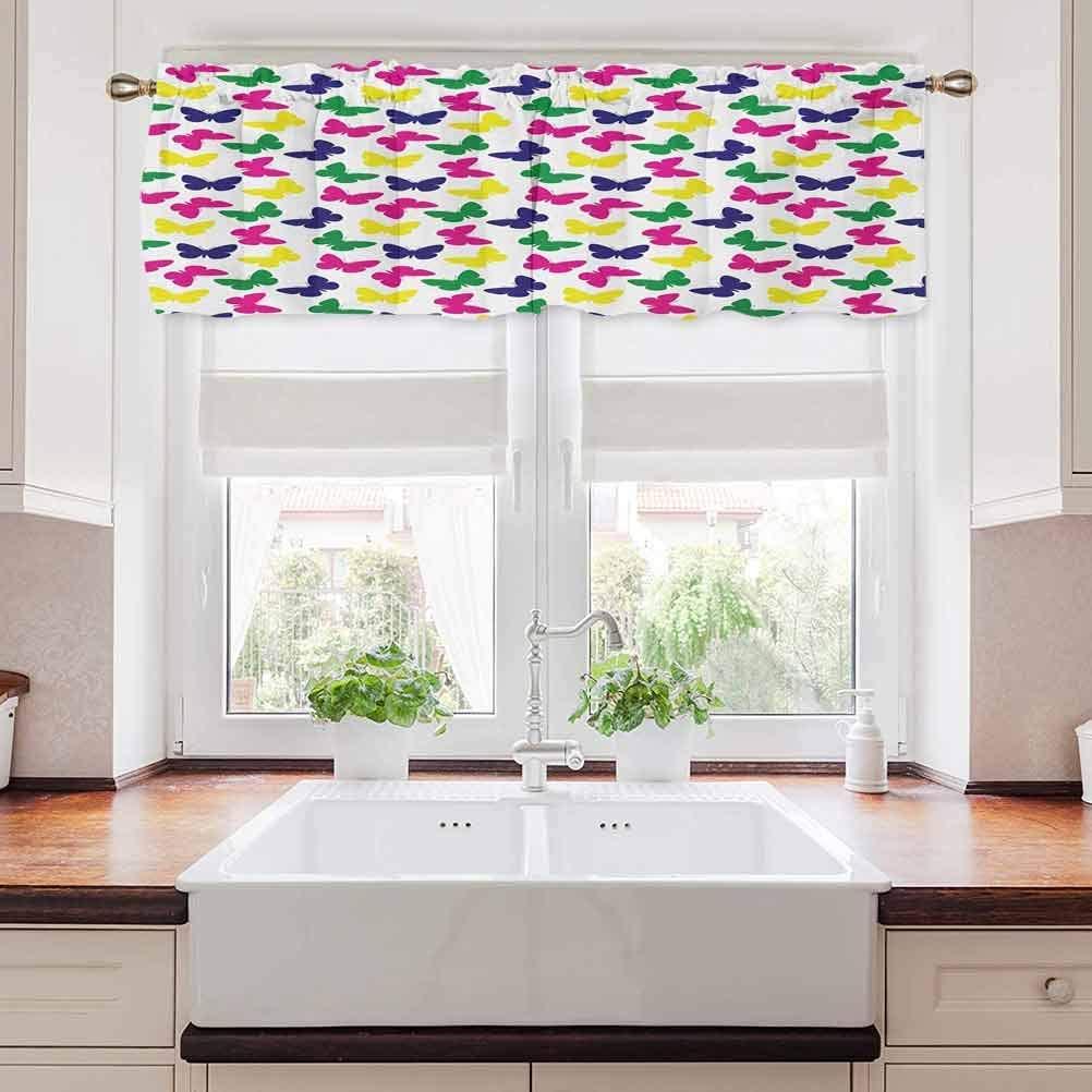 carmaxs Modern Bathroom Curtains Window, Rainbow Colorful Butterfly Romantic Kids Children Artwork, 42