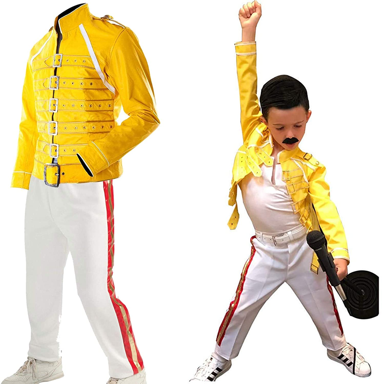 LP-FACON Kids Wembley Concert Freddie Mercury Costume Jacket Pants Faux Leather Halloween Apparel