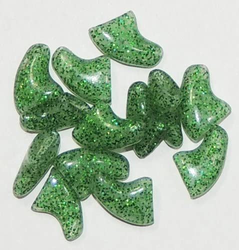 Pet Cat Soft Claw Nail Caps Size XS, Crystal Green Glitter (40pcs Nail caps, 2 Tubes of Adhesive with Instruction)