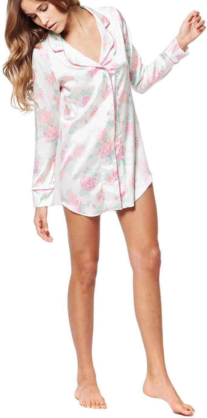 Zinke Intimates Women's Sophie Sleep Shirt, Small, Pink Floral Print