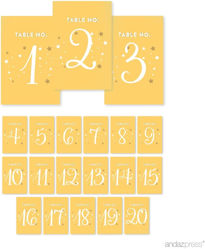 Andaz Press Twinkle Twinkle Little Star Yellow Wedding Collection, Table Numbers 1-20 on Perforated Paper, Single-Sided, 4 x 6-inch, 1 Set