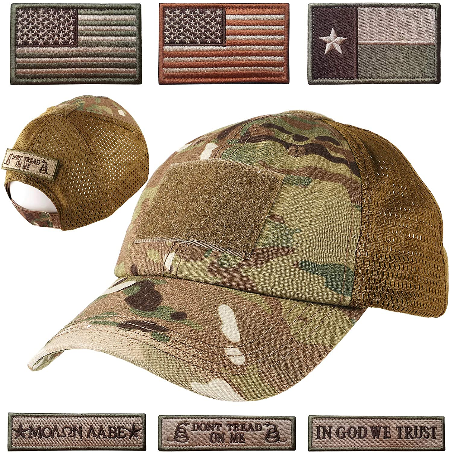 Lightbird Mesh Tactical Hat with 6 PCS Tactical Military Patches, Adjustable Operator Hat, Durable Tactical OCP Flag Ball Cap Hat for Men Work, Gym, Hiking and More