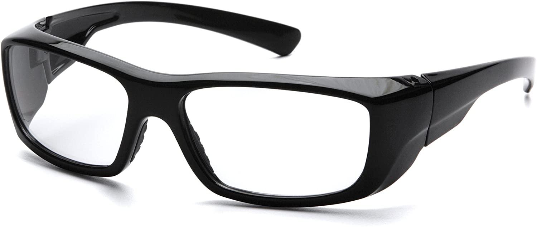 PYRAMEX SB7910D20 Pyramex Clear Safety Reader Glasses,  Scratch-Resistant,Black Frame