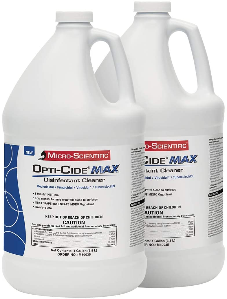 Micro-Scientific Opti-Cide Max Disinfectant Cleaner - 2 Gallon - Medical Grade Disinfecting Sanitizing Cleaning Spray Refill