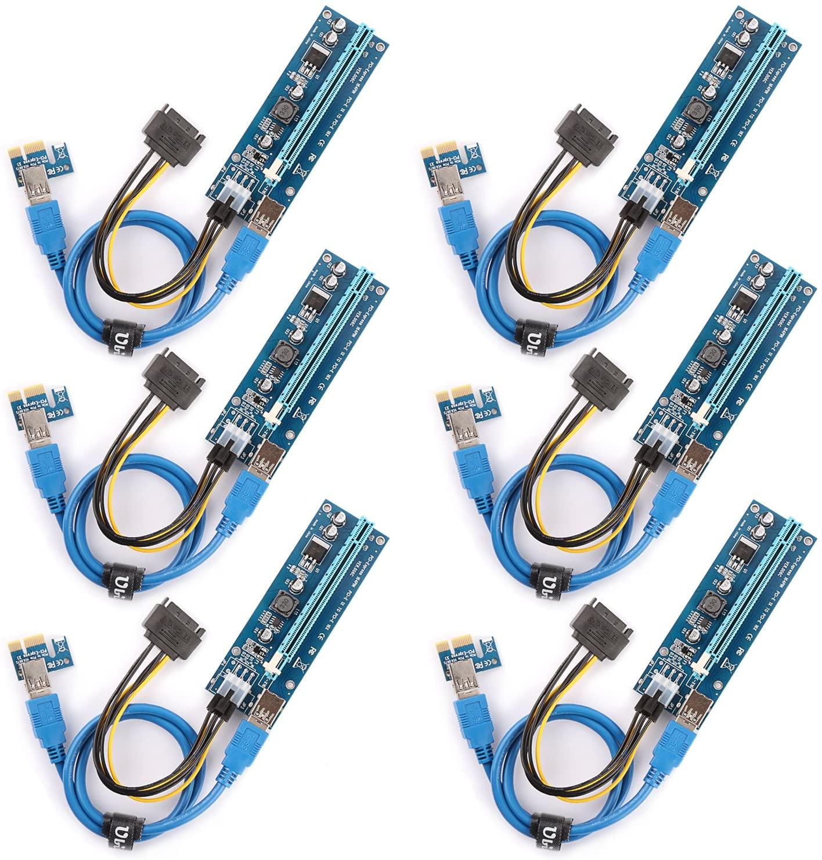 The 6 Pack PCI-E Riser for BitcoinLitecoin ETH Coin Ubit Mining Dedicated Graphics Card PCI-E Riser 1X to 16X Riser Card 164P / 60cm USB 3.0 Extension Cable & MOLEX to SATA Power Cable (Ver006C)