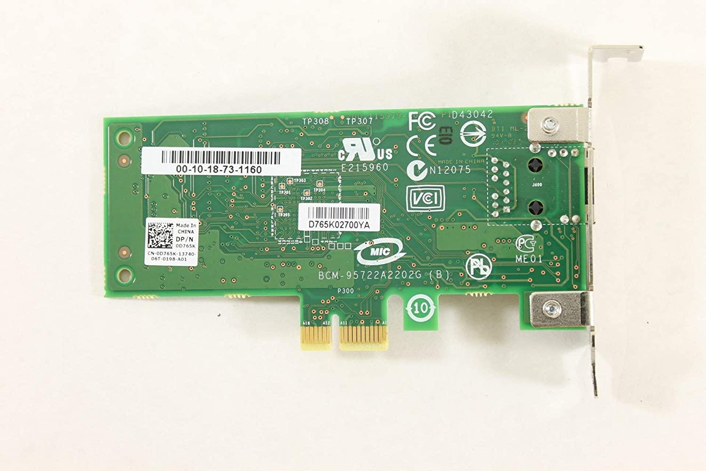 Dell Optiplex 990 D765K Ethernet PCI-E Broadcom Network Card Board 3010 980 960 790 (Certified Refurbished)
