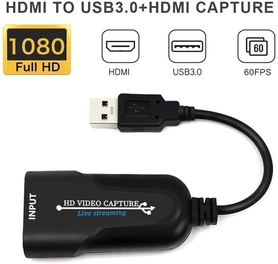 LFJNET Portable USB 3.0 HDMI Game Capture Card Video Reliable Streaming Adapter for Live Broadcasts Video Recording Black