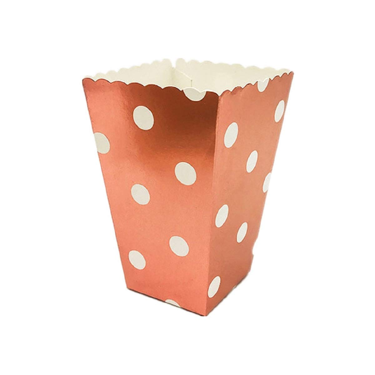 Allinlove 48 Pack Rose Gold Popcorn Boxes Classic Popcorn Paper Bags Popcorn Containers Cardboard for Dessert Tables Wedding Birthday Party Favors (Polka Dot)
