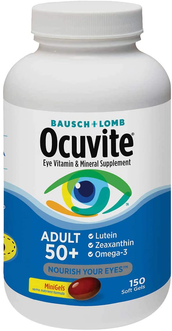 Evaxo Adult 50+, 150 Soft Gels Eye Vitamin and Mineral Supplement with Lutein, Zeaxanthin and Omega-3 .#B