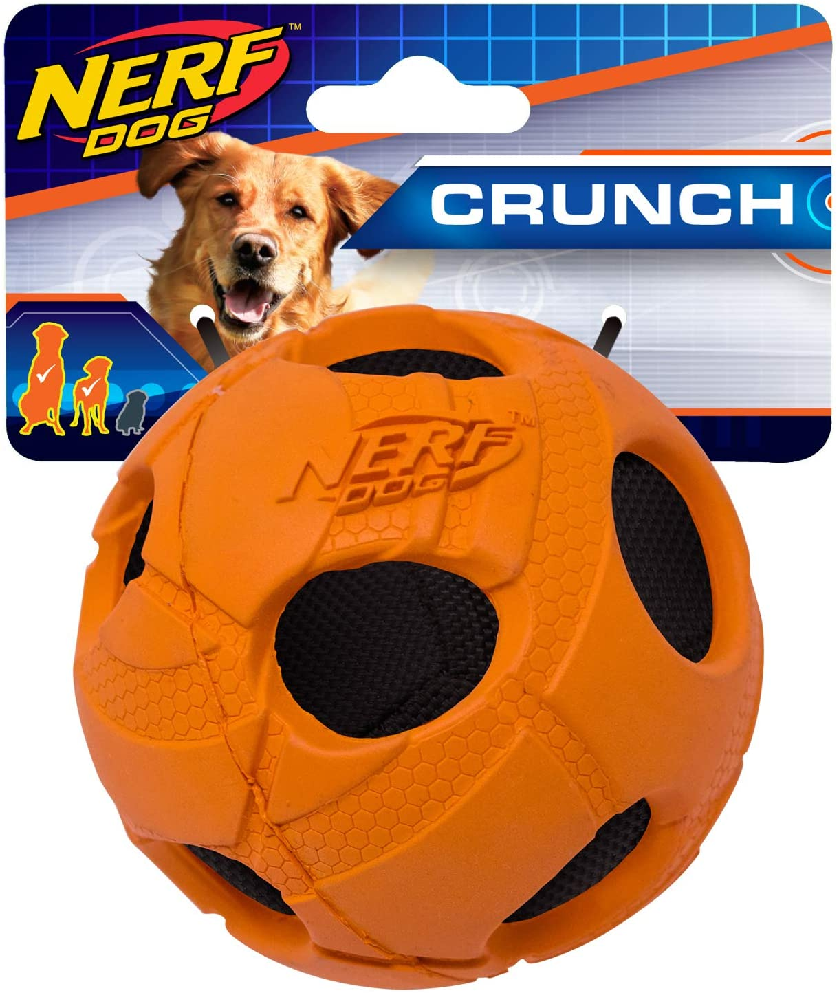 Nerf Dog Bash Ball Dog Toy with Interactive Crunch, Lightweight, Durable and Water Resistant, 3.8 Inches for Small/Medium/Large Breeds, Single Unit, Orange