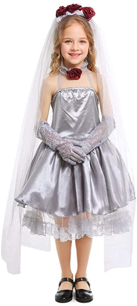 Meeyou Girls Ghost Bride Costume,4 Pieces