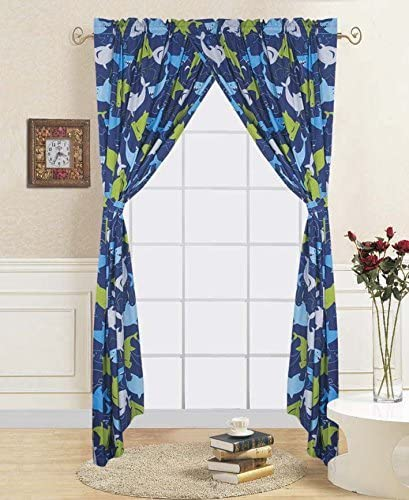 Elegant Home Sharks Design Multicolor Dark Blue Green Fun Colorful Boys/Kids Room Window Curtain Treatment Drapes 4 Piece Set # Shark