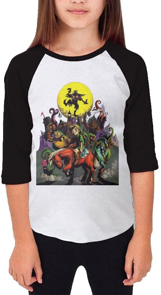 MJJY Youth Girls The Legend Of Zelda Majora's Mask Raglan Baseball T Shirt Black
