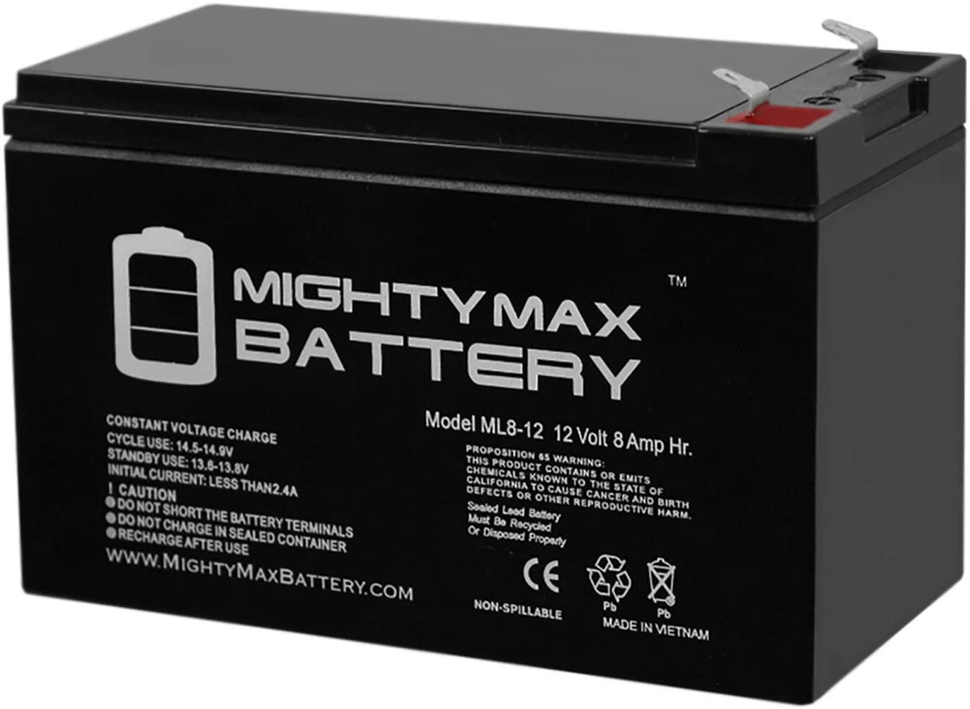 Mighty Max Battery 12V 8AH SLA Replaces Razor Dirt 25117460 + 12V 1Amp Charger Brand Product