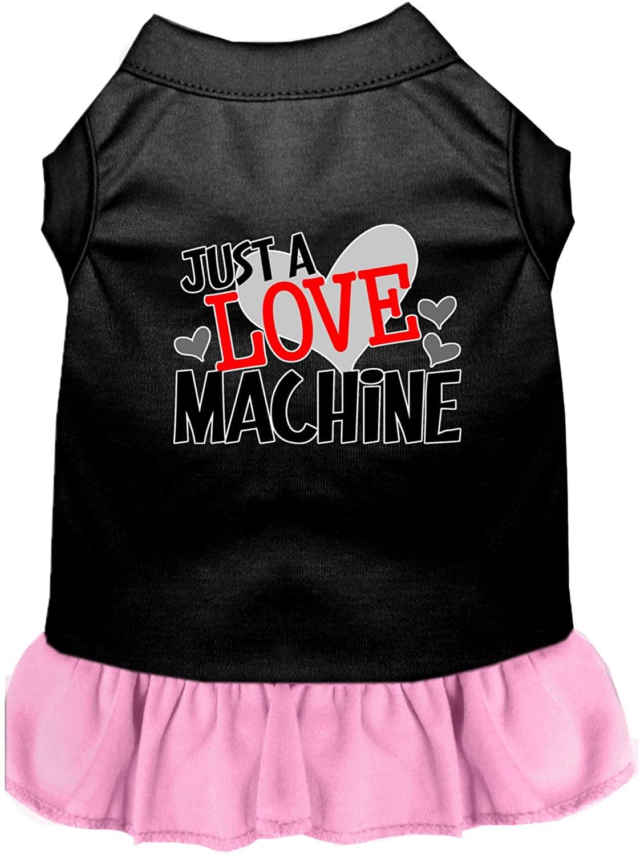 Mirage Pet Product Love Machine Screen Print Dog Dress Black with Light Pink XXL