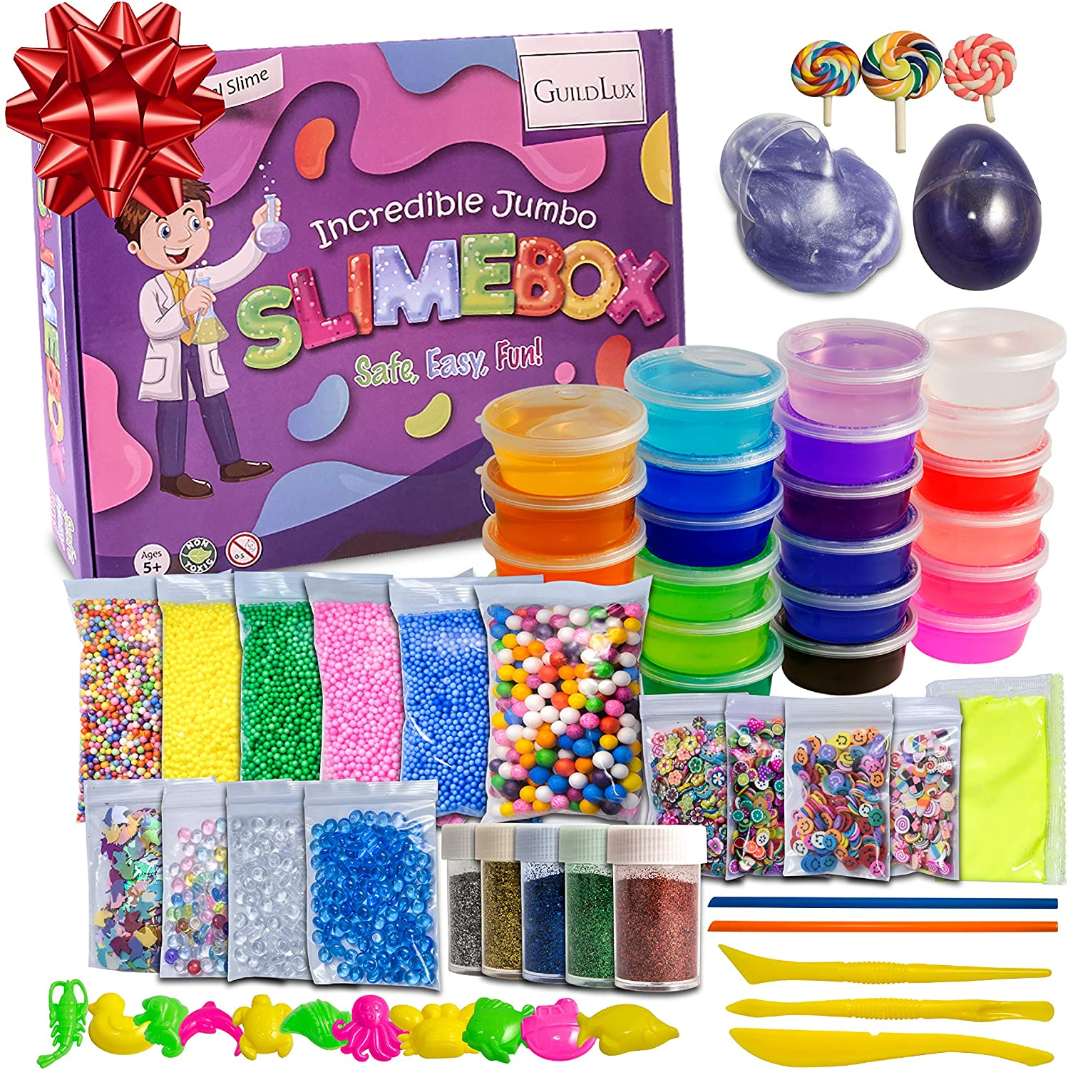 DIY 72pc Crystal Clear Slime Kit | 24 Colors Slime, Foam Beads, Fruit Slices, Lollipops, Unicorn, Glow in The Dark Powder, Slime Eggs | Complete Supplies & Glitter Accessories for Boys & Girls