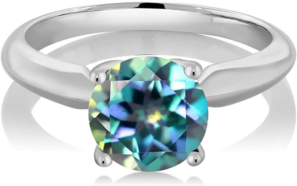 Gem Stone King 2.00 Ct Round Millennium Blue Mystic Topaz 925 Sterling Silver Engagement Ring