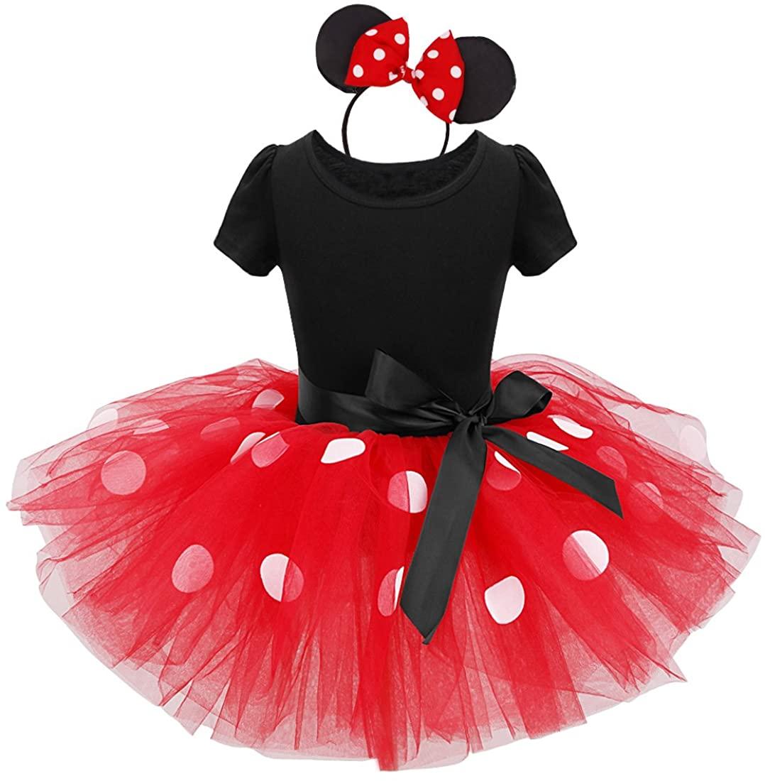 TiaoBug Girls Princess Polka Dots Bowknot Tutu Dress Party Costume Ear Headband (12 Months, Red)