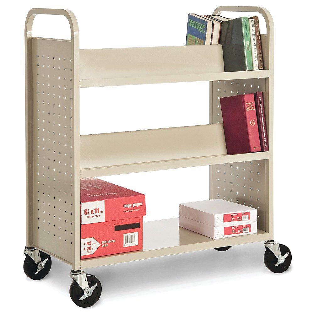 Sandusky Lee SVF336-EY Combination Bottom Flat Shelf Book Truck, 19