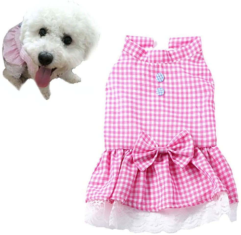 Petea Plaid Bowknot Tutu Dog Dress Vest Apparel Skirt Clothes Pet Puppy Princess Clothes for Dogs and Cats