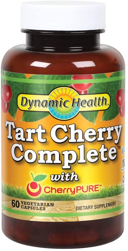 Dynamic Health Tart Cherry Complete   500mg Tart Cherry, 100mg Turmeric & Boswellia, 50mg Ginger & Holy Basil   Vegetarian, No Gluten   60 Capsules