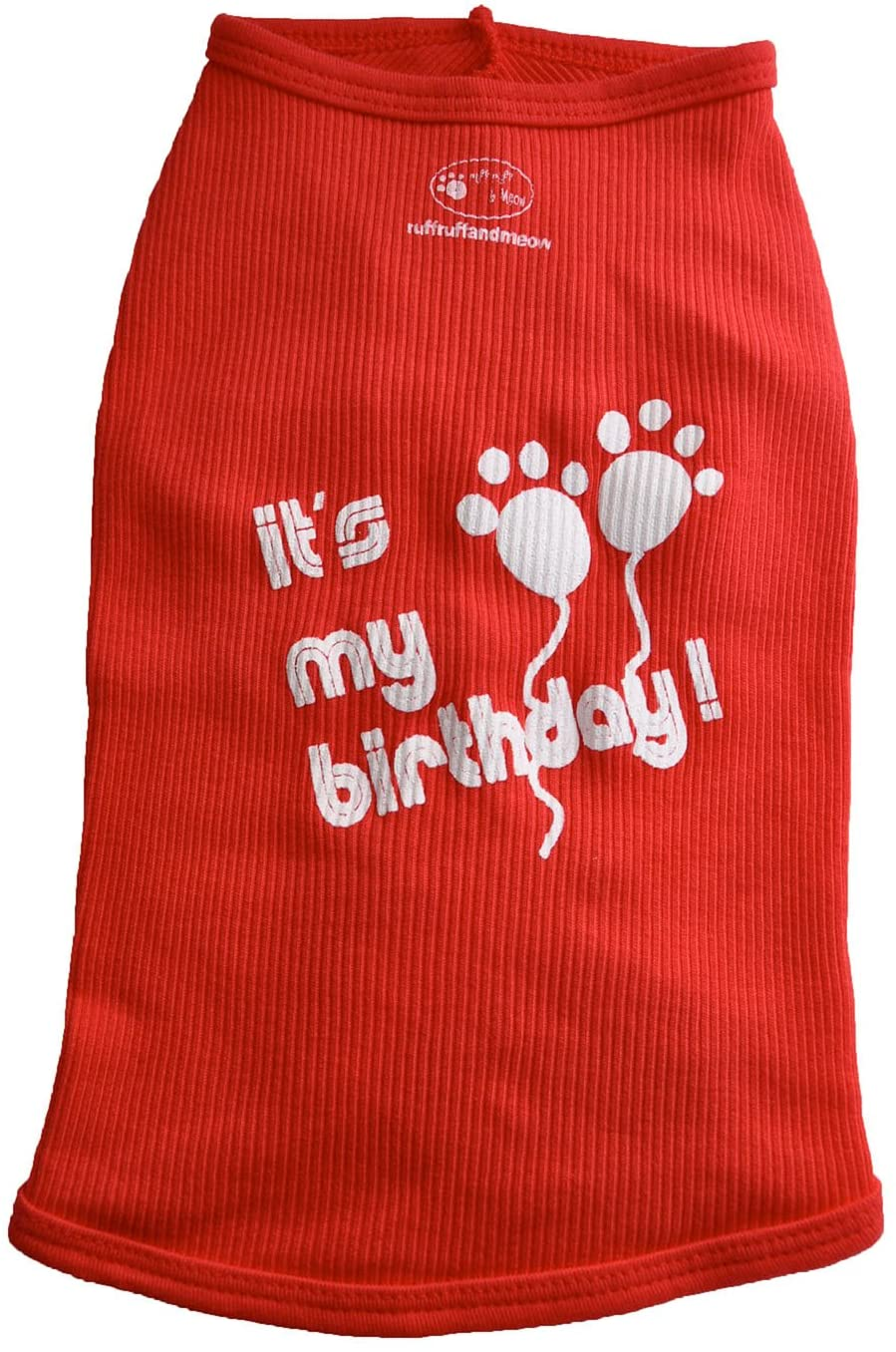 Ruff Ruff and Meow Dog Tank Top, Its My Birthday, Red, Small