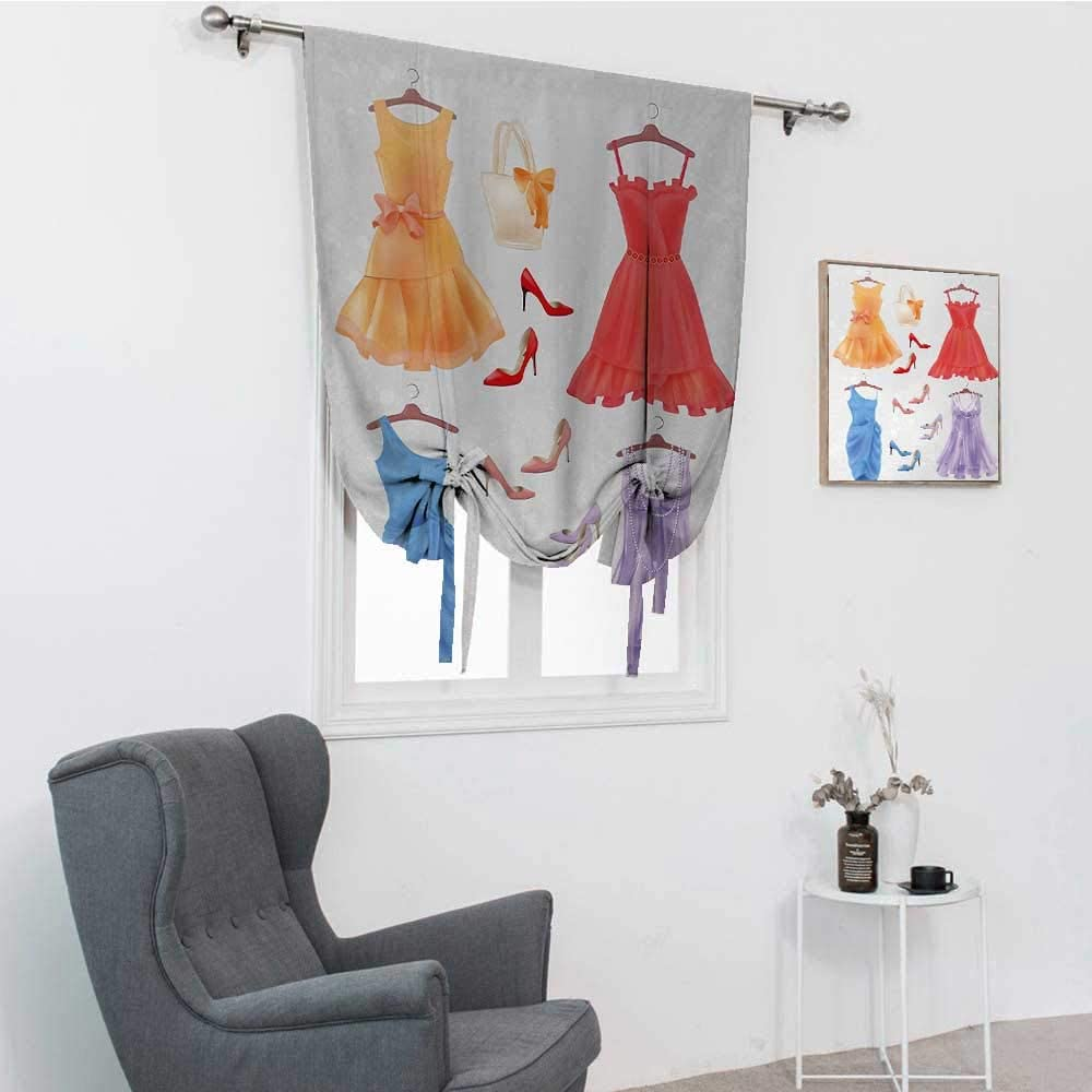 GugeABC Heels and Dresses Window Blinds, Set of Festive Attire for Party Fashion Female Cocktail Dresses on Hanger Balloon Valance Drape, Multicolor, 42