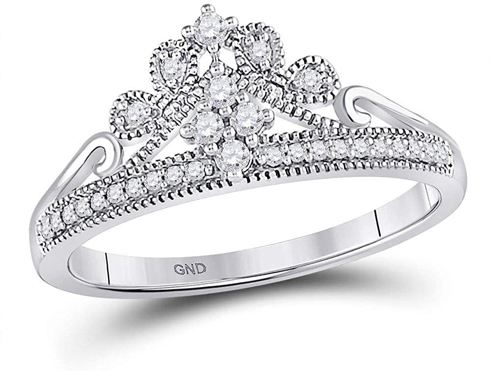 10kt White Gold Womens Round Diamond Crown Tiara Fashion Ring 1/6 Cttw